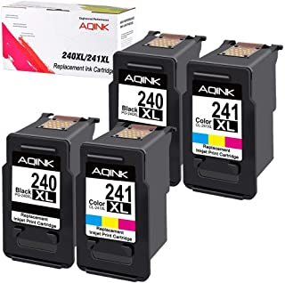 AQINK Remanufactured Ink Cartridge Replacement for Canon PG 240XL PG-240 CL 241XL CL-241 for use ni Pixma MG2120 MG3120 MG3122 MG3520 MX472 MX522 MG3522 MG4120 MX372 (2 Black,2Tri-Color)