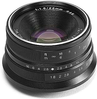 7artisans Lentes de Cámara 25mm F1.8 Manual Focus Prime Fixed Lens for Olympus and Panasonic Micro Four Thirds MFT M4/3 Cameras - Black