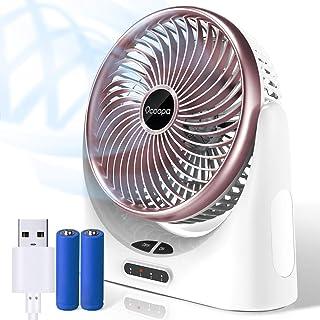 卓上扇風機 OCOOPA 3段階調節 LEDライト付き 大容量バッテリー 扇風機 小型 充電式 usb ミニ ファン 4000mAh電池 コードレス 120度首振り 強風 静音 長時間連続使用 日本語取扱説明書 熱中症対策 ローズレッド