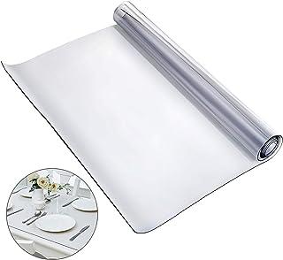 VEVOR Nappe PVC Rectangulaire Transparente 1,5mm Nappe de Protection Imperméable Épaisse pour Table de Cuisine, Table à Ma...
