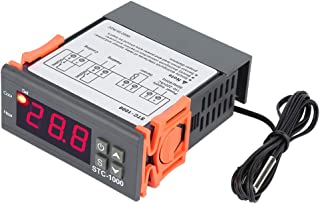110-220V Digital Temperature Controller, LED 10A Thermostat Meter with NTC Sensor Temperature Probe Electric Thermostat Control 2 Relays - STC-1000