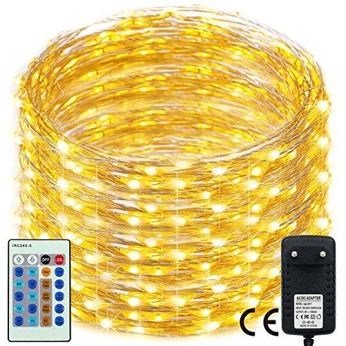 500 LED Dimmbare Weihnachten Lichterkette,RcStarry 165Ft/50M 500 LEDs silberdraht Lichterkette mit mehrfunktionale Remote Controller für Weihnachten/Deko/Party/Hochzeit, Warmweiß - Not Just A Gadget