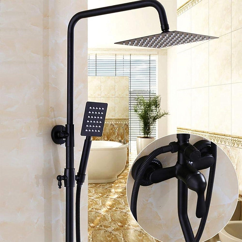 Wghz Bad schwarz duschset Wand regendusche mischbatterie Wasserhahn antik Retro hot \u0026 Cold Water duschset, a
