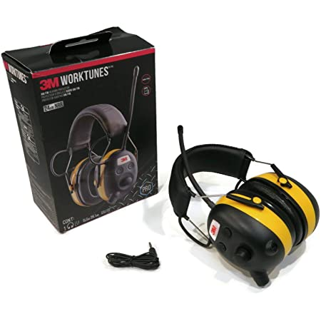 3M WorkTunes Hearing Ear Protector Earmuff MP3 Compatible w// AM//FM Radio Tuner