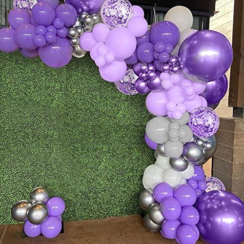 Kit guirnalda arco globos morados, decoraciones cumpleaños moradas globos morados pastel globos morados grises macaron globos plateados morados metálicos globos blancos globos confeti morados