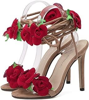THE LONDON STORE Women's Red Rose Flower Cross Tied High Heels Fashion Sandal