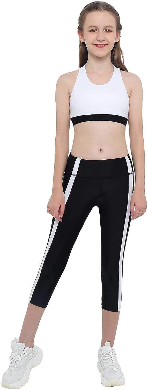 Kaerm Kids Girls Two Pieces Sport Suit Y-Shaped Back Crop Top Elastic High Waist Leggings Tracksuit