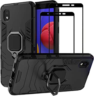 EasyLifeGo for Samsung Galaxy A01 Core Kickstand Case with Tempered Glass Screen Protector [2 pieces], Hybrid Heavy Duty A...