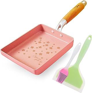 "ROCKURWOK Japanese Omelette Pan Nonstick Tamagoyaki Egg Pan, Retangle Small Frying Pan, 7"" x 5"", Pink"