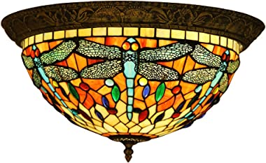 Makenier Vintage Tiffany Style Stained Glass Dragonfly Flush Mount Ceiling Light Fixture