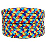 50 Yards/roll 3/8 Inch Autism Awareness Puzzle Printed Grosgrain Ribbon Hair Craft Supplies