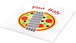 Ambesonne Italy Cutting Board, Cartoon Style Drawing Sketch of Leaning Tower of Pisa on Pizza Artwork, Decorative Tempered Glass Cutting and Serving Board, Small Size, White and Multicolor
