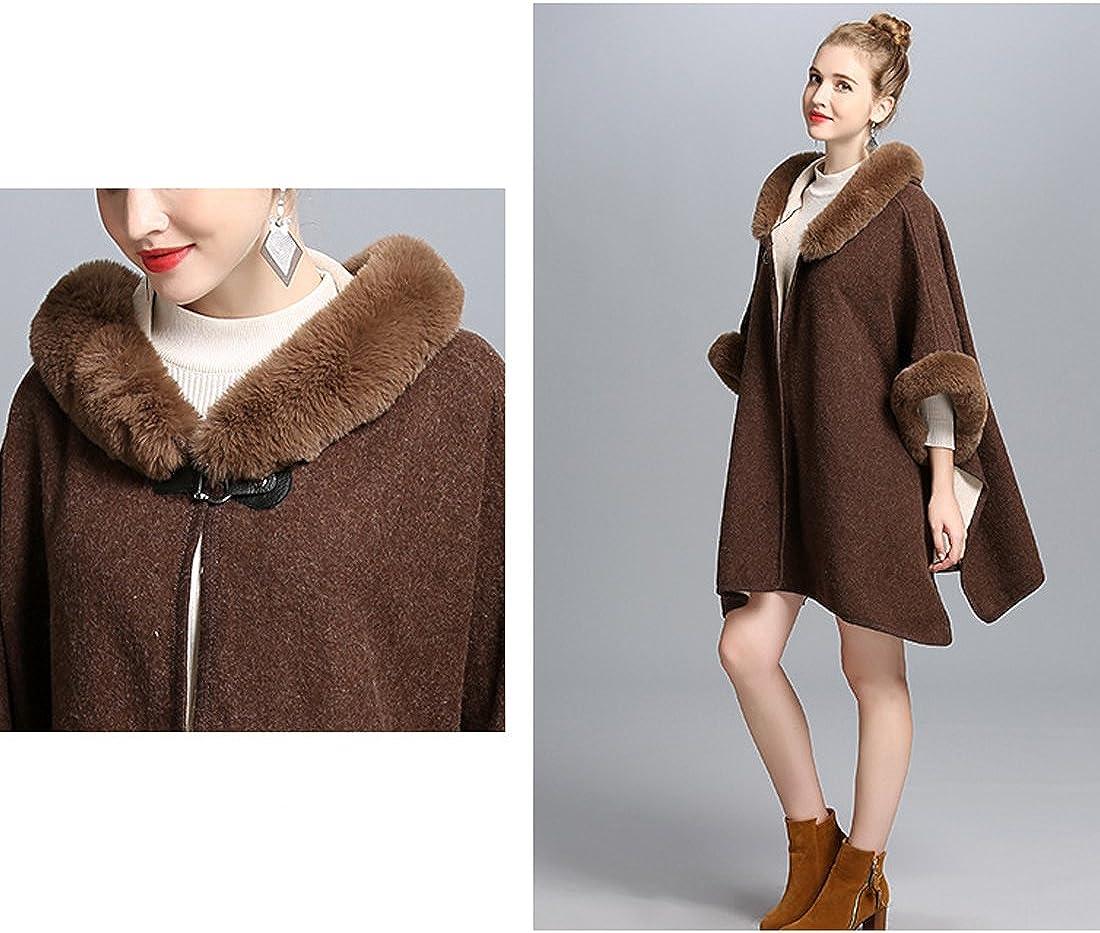 Cool&D Damen Poncho Cape Winter Umhang Tweed Jacken mit Kunstfell Kragen Kunstpelz Stolen Coffee