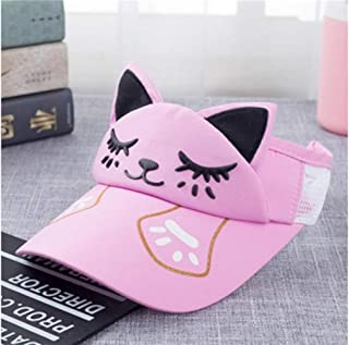 Baby Decoration Hat Cute Dog Style Sun Hat Outdoor Sun Visor Breathable Sweat Sun Hat Empty Top Hat for Children Cute Cap (Color : Pink, Size : 48-53cm)