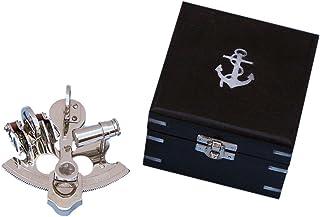 "Hampton Nautical NS-0456 Scout's Chrome Pirate Sextant 4"" with Black Rosewood Box - Nautical Decor - Nautical Home Decoration"