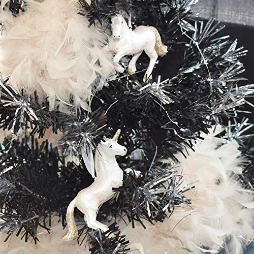 TRIXES Einhorn-Weihnachtsdekoration zum Aufhängen oder Austellen aus Kunstharz mit Perleffekt und...
