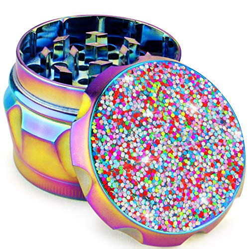 PILOTDIARY Herb Grinder with Pollen Catcher Spice Grinders for Herb 4 Piece 2' Premium Aluminum Glitter Series Gifts for Women,Rainbow