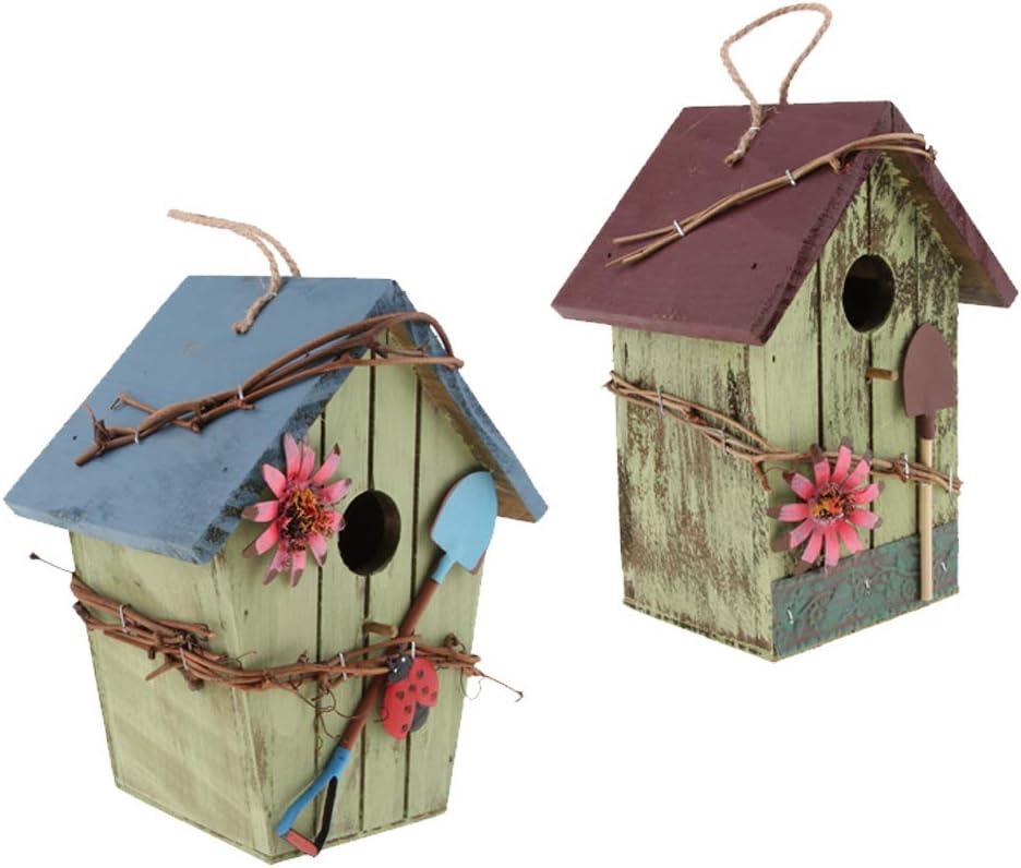 joyMerit Set of Cheap Over item handling ☆ sale 2 Natural Handcrafted Bird Birdhouse Wooden Hut