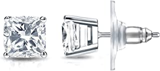 14k Gold 4-Prong Basket Cushion-cut Diamond Stud Earrings (1/2-2ct,White,SI2-I1) Secure Lock Back Disc