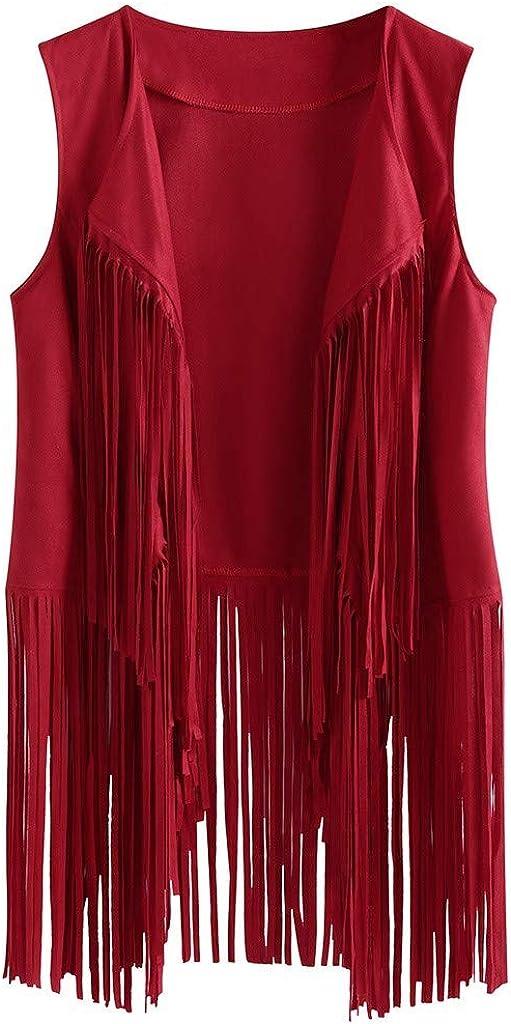 WUAI-Women Tassels Fringe Sleeveless Vest Faux Suede Vest Open Front Cardigan Waistcoat Jacket