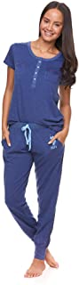 Womens Pajama Set with Pockets - Short Sleeve Shirt and...