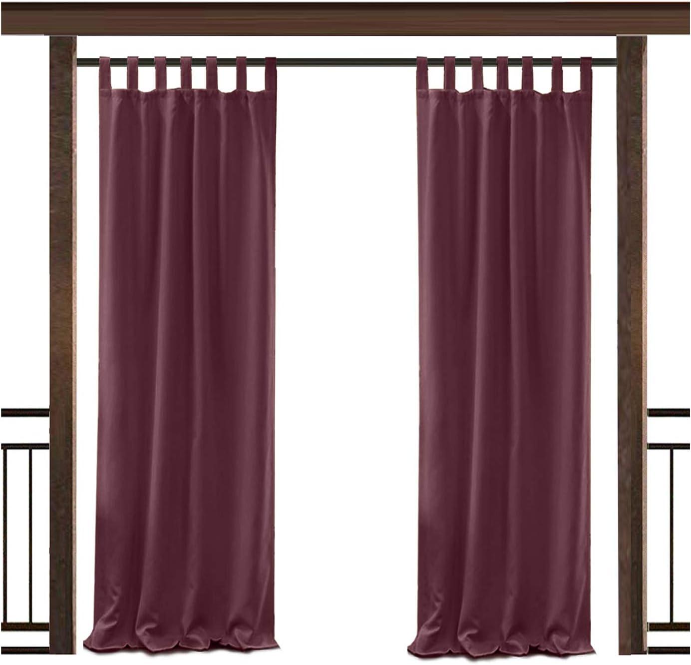 数量は多 TWOPAGES Outdoor Waterproof Curtain Burgundy Drape Tab ブランド買うならブランドオフ Top 150