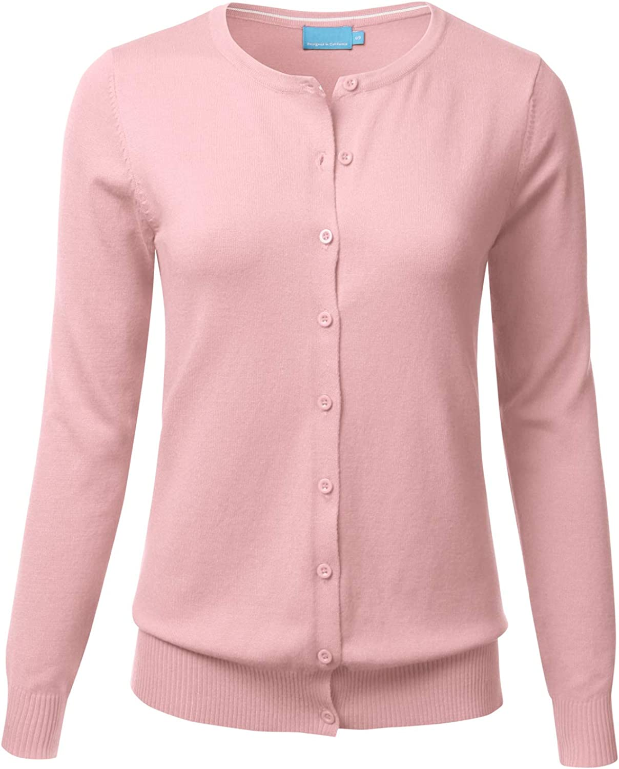 FLORIA Women's Button Down Crew Neck Long Sleeve Soft Knit Cardigan Sweater Dustypink S