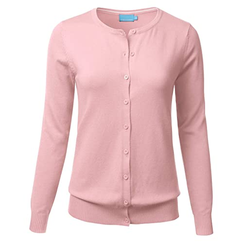 59e3a038f69a7 FLORIA Women s Button Down Crew Neck Long Sleeve Soft Knit Cardigan Sweater  (S-3X
