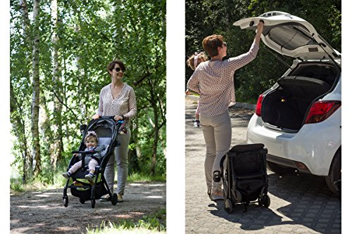 Kinderkraft Pilot light stroller, buggy stroller, child buggy, folding KinderKraft An innovative folding system, with a shoulder strap for easy transport The set contains: Modern barrier, shopping basket under the seat, foot protection, rain cover and cup holder. High quality stored, rubber wheels - all muffled. 9