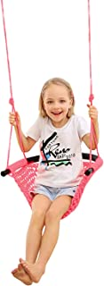 JKsmart Swing Seat for Kids Heavy Duty Rope Play Secure Children Swing Set,Perfect for Indoor,Outdoor,Playground,Home,Tree,with Snap Hooks and Swing Straps,440 lbs Capacity,Pink(Patent Pending)
