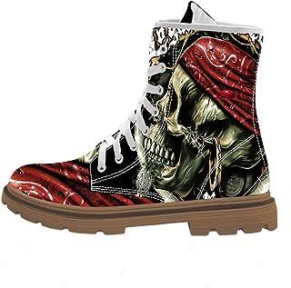 أحذية برقبة طويلة طويلة للرجال من فيرست دانس بتصميم مطبوع مطبوع على شكل جمجمة من منتصف كارف