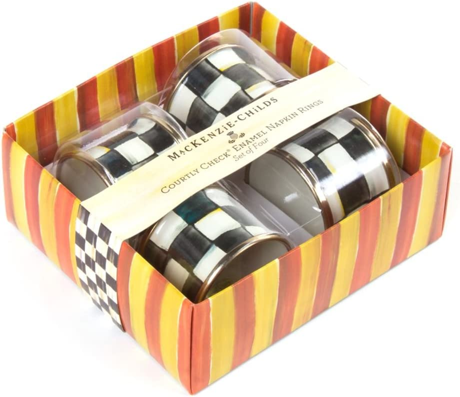 MacKenzie-Childs Courtly Check Free Shipping Cheap Bargain Gift Enamel Virginia Beach Mall Napkin of - 4 Set Rings
