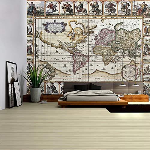 KHKJ Tapiz de Mapa del Mundo Tela de Mapa de Alta definición Colgante de Pared decoración Acuarela Mapa Carta Cubierta de Mesa Toalla de Playa A9 150x130cm