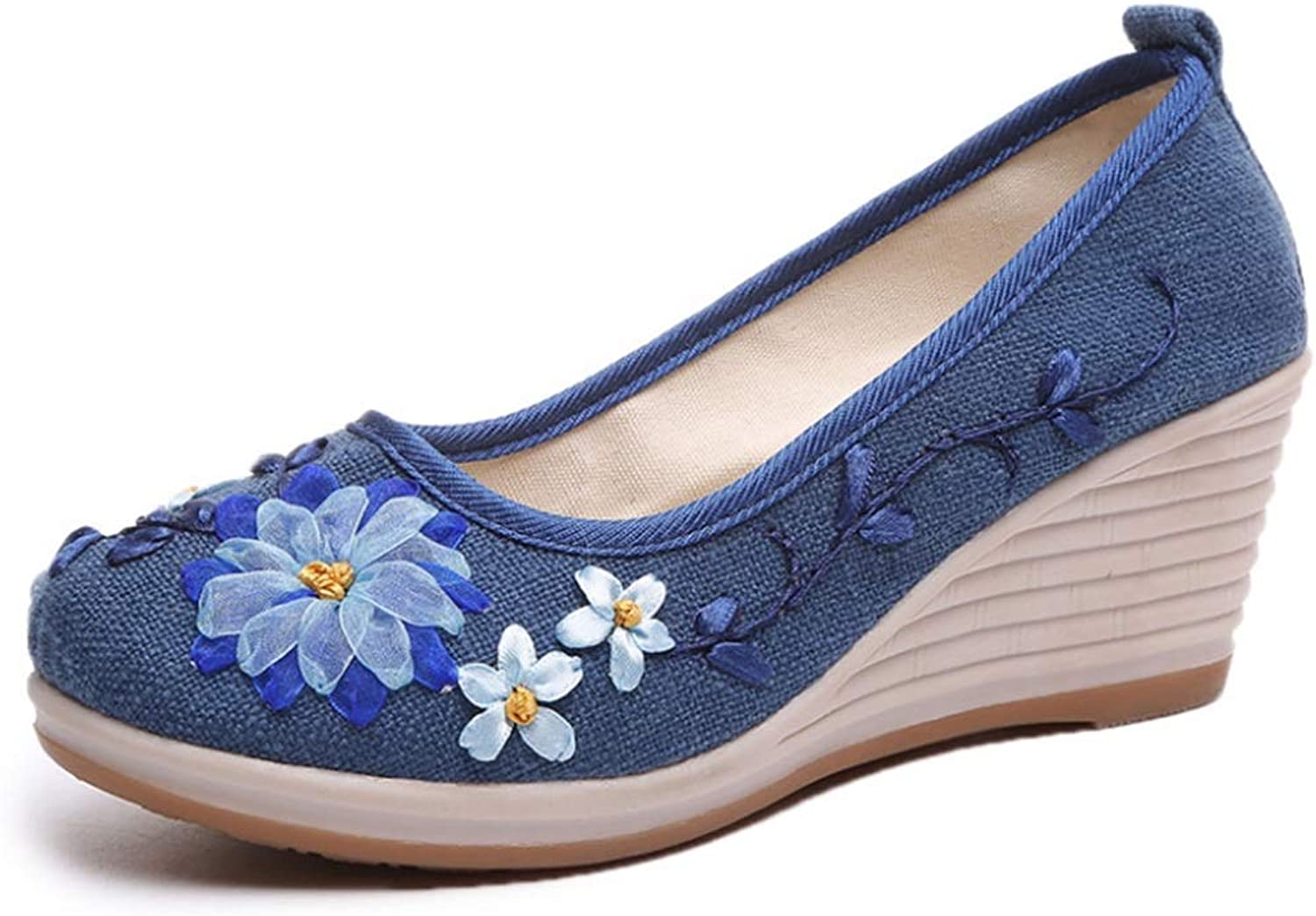 Embroidered shoes Old Beijing Cloth shoes White High-Heeled Women's shoes National Wind Cotton Linen shoes (color   bluee, Size   23.5)