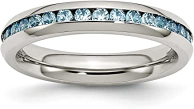 ICE CARATS Stainless Steel 4mm December Teal Cubic Zirconia Cz Band Ring Birthstone Fashion Jewelry for Women Gift Set