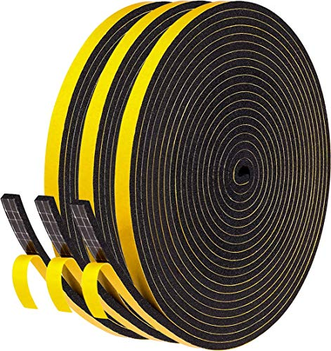 fowong 15m Dichtungsband für Türen Fenster 6mm(B) x3mm(D) Selbstklebendes Schaumstoffband Türdichtung Fenster, Gummidichtung für Kollision Siegel Schalldämmung 3 Rollen je 5m lang Schwarz