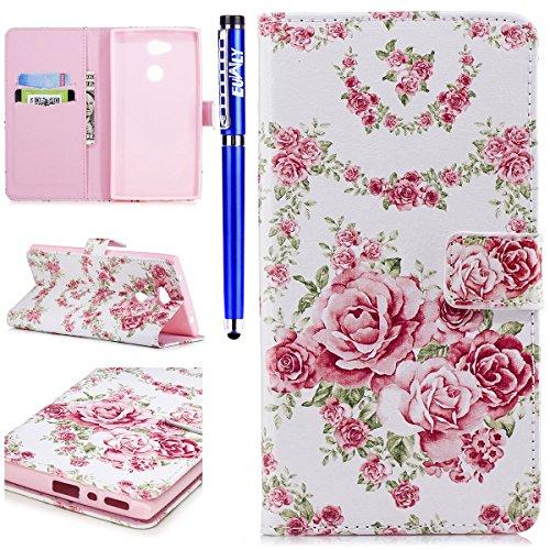 EUWLY Lederhülle für [Sony Xperia L2], Sony Xperia L2 Schmetterling Flip Wallet Case Brieftasche Hülle Ledertasche, Schmetterling Blumen Malerei Muster Leder Bookstyle Handyhülle Tasche Hand