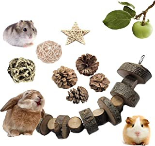 VCZONE Rabbit Chew Toys, Pet Bunny Tooth Chew Toys Organic Natural Apple Wood Grass Cake Ideal for Bunny, Chinchilla, Guin...