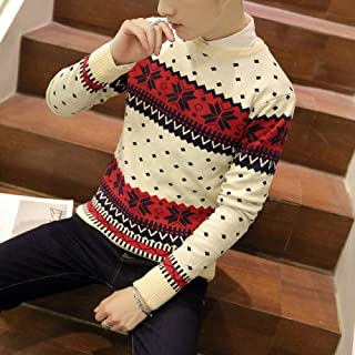 CZCG Men Snowflake Christmas Sweater Winter Knitted Sweater V Neck Casual Knit Jumpers Pullovers Homme Warm Outwear Knit