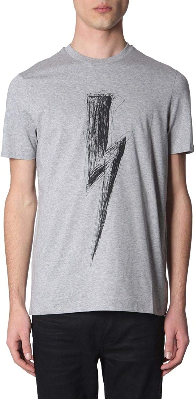 NEIL BARRETT Men's PBJT477BL534S52 Grey Cotton TShirt