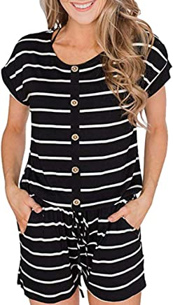 Winwinus Womens Long Sleeve Lace up Solid Shorts Romper Playsuit with Pockets