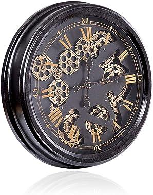 20'' Horloge Murale Engrenage, Horloge Murale en Métal De Décoration Industrielle, Horloge Chiffre Arabe pour Salon C