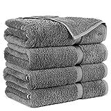 Towel Bazaar Premium Turkish Cotton Super Soft and Absorbent Towels (4-Piece Bath Towels, Gray)