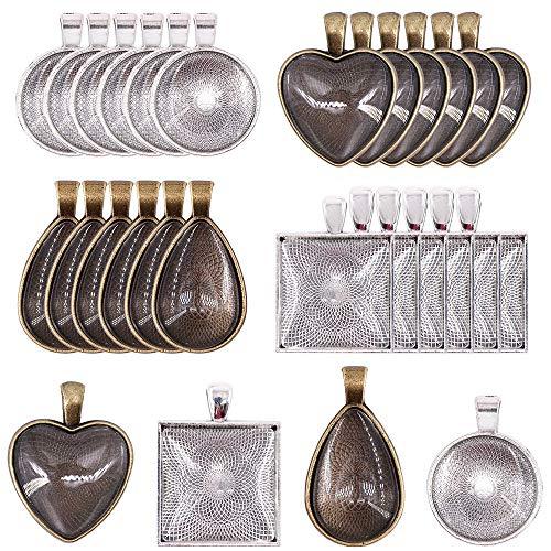 Oumezon 48 stuks hanger lunette set Cabochon set hanger lunette set hanger dienblad glazen koepel houder schaal voor 25 mm glas cabochon glazen koepel fitting gietvorm sieraden knutselen