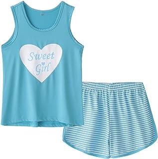 MyFav بزرگ بچه ها دختران بدون آستین Sleepwears قلب شکل راه راه Pajama Nightgown