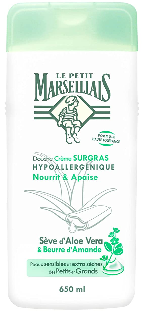 銛楽しませる黒くする「アロエベラ」と「アーモンドバター」 石鹸不使用 低刺激 敏感肌用 中性 ミセルシャワージェル フランスの「ル?プティ?マルセイユ(Le Petit Marseillais)」650ml ボディウォッシュ
