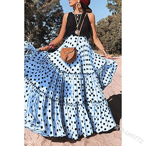 Rock Für Frauen,Vintage Maxirock Zigeunerkleid Lotusblatt Schwarze Punkte Blaue Taille Elegantes Kleid Für Sommer Mädchen Damen Party Büro Strand Hochzeit, S.