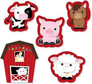 Big Dot of Happiness Farm Animals - DIY Shaped Baby Shower or Birthday Party Cut-Outs - 24 Count