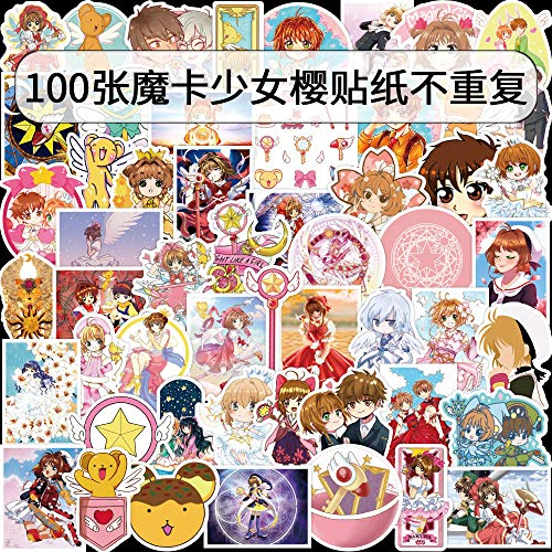 YCYY 100 Anime Magic Card Girl Cherry Blossom Day Graffiti Stickers Suitcase Computer Stickers Waterproof