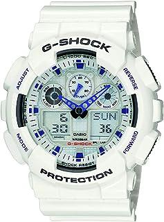 Men's, G-Shock Quartz Sport Watch with Resin Strap, White, 29.4 (Model: GA-100A-7ACU)